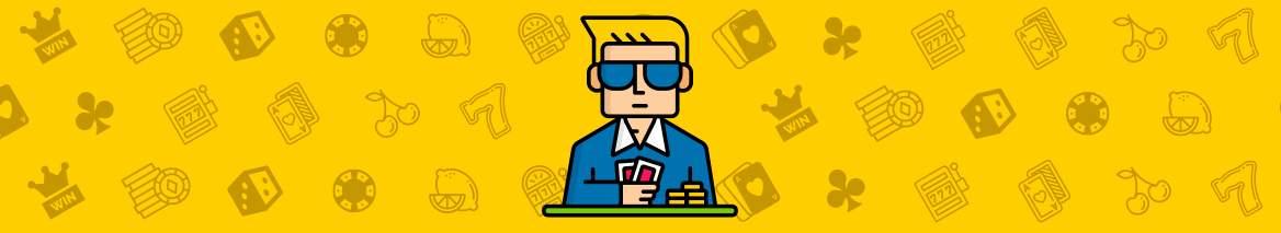 animerad person med solglasögon, mot gul bakgrund