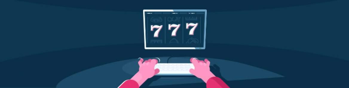 två par händer vid en laptop, med 777 på skärmen