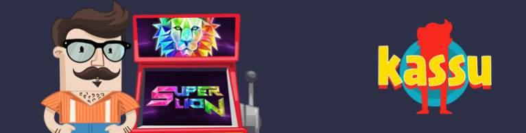 Kassu, animerad man med mustach vid en spelautomart