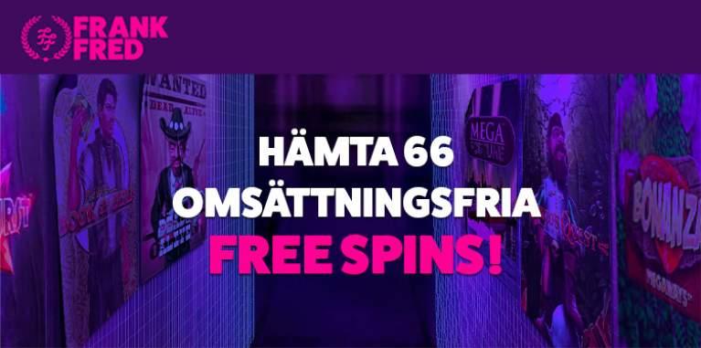 Hämta 66 omsättningsfria free spins hos Frank & Fred